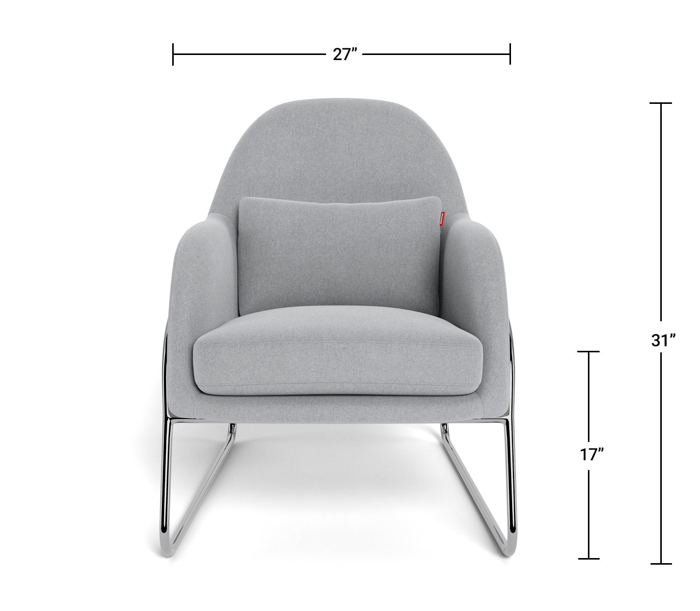 Modern Lounge Chair - Jackie Lounge Dimensions Front View
