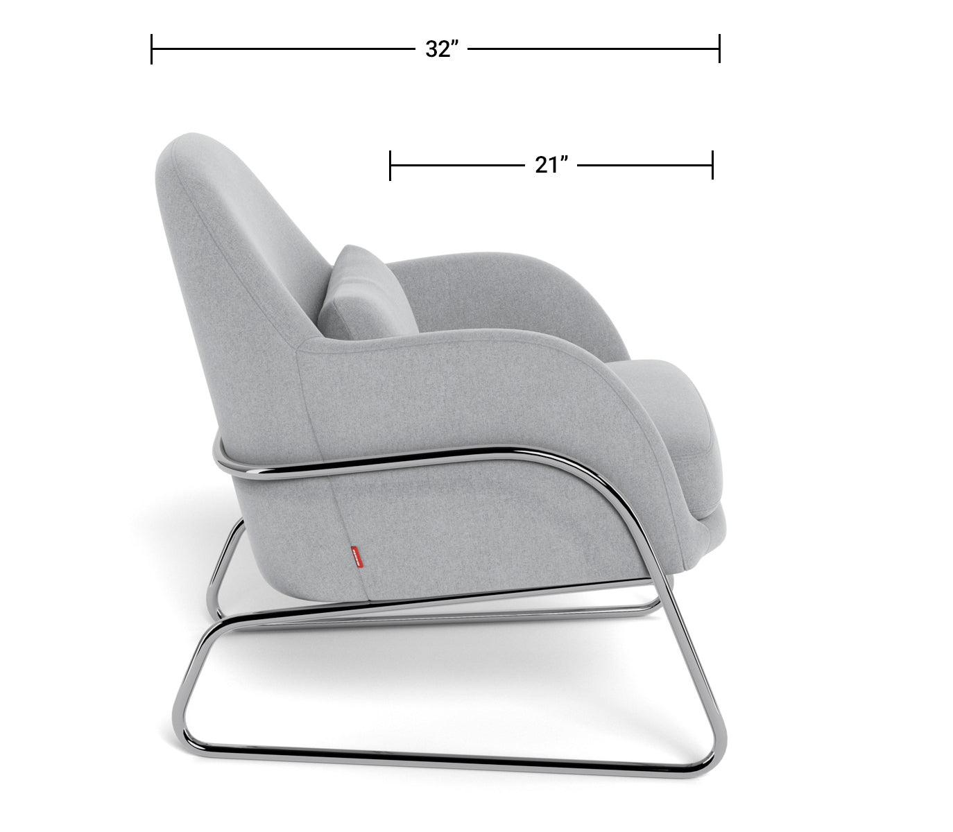 Modern Chair - Jackie Lounge Dimensions Side View