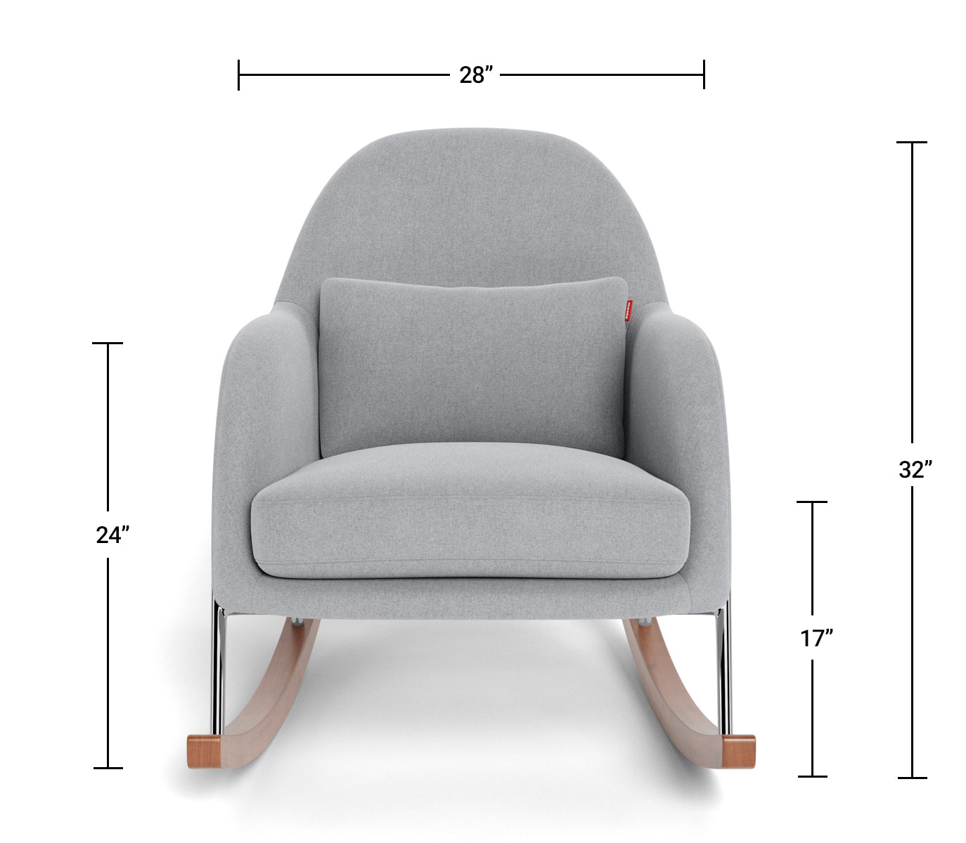 Modern Nursery Rocking Chair - Jackie Rocker Dimensions Front View