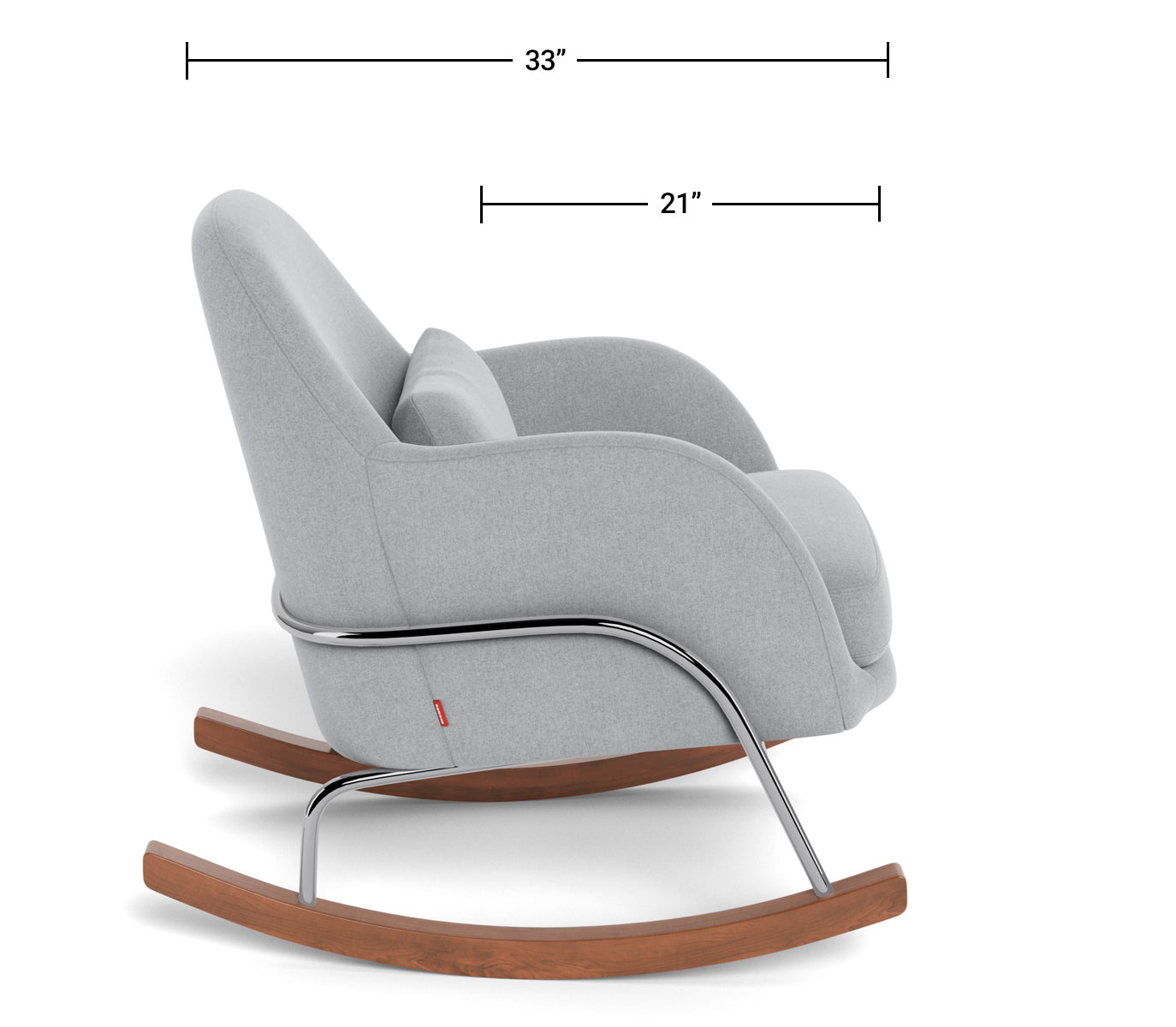 Modern Nursery Rocking Chair - Jackie Rocker Dimensions Side View