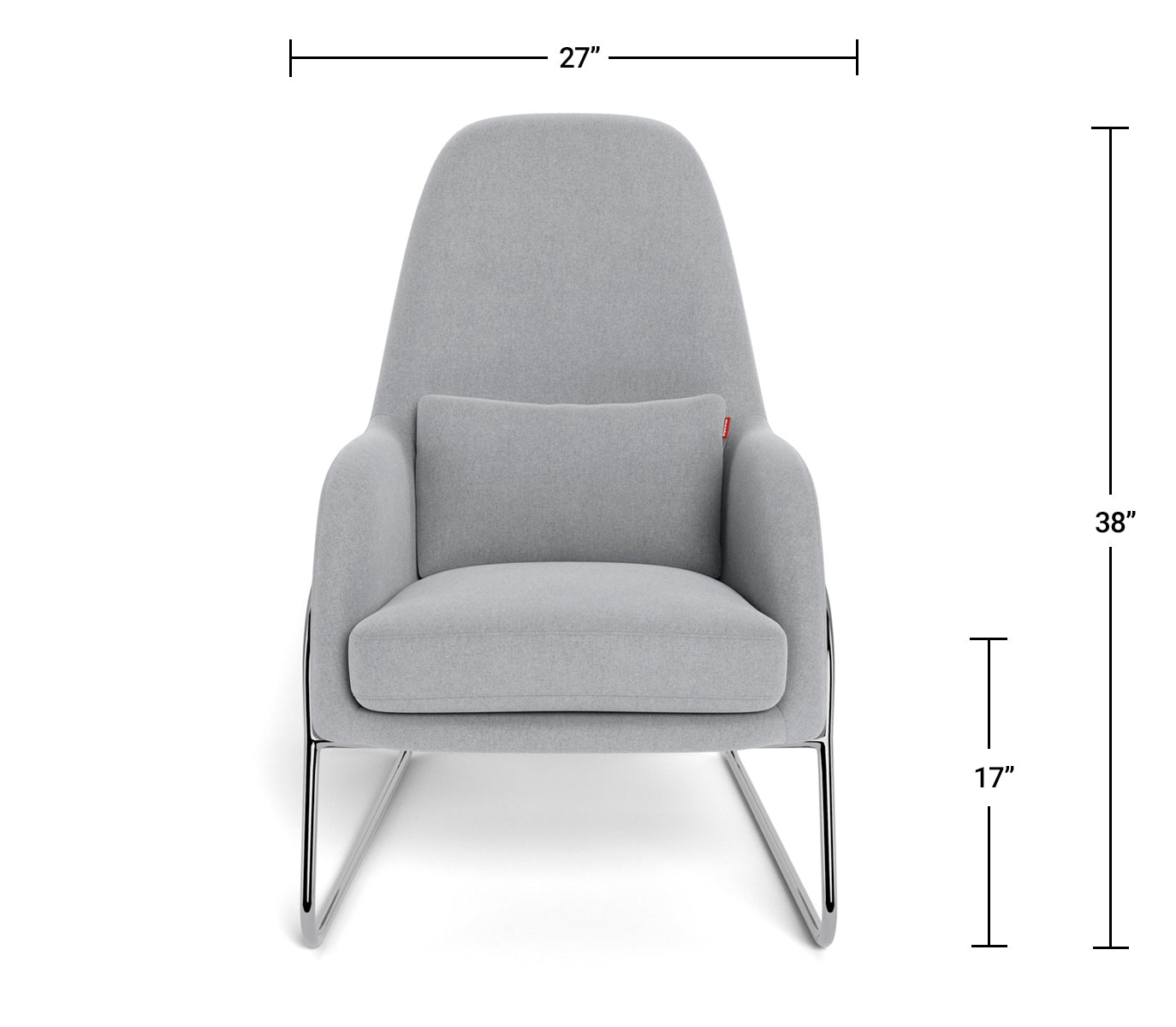 Modern Lounge Chair - Jackson Lounge Dimensions Front View