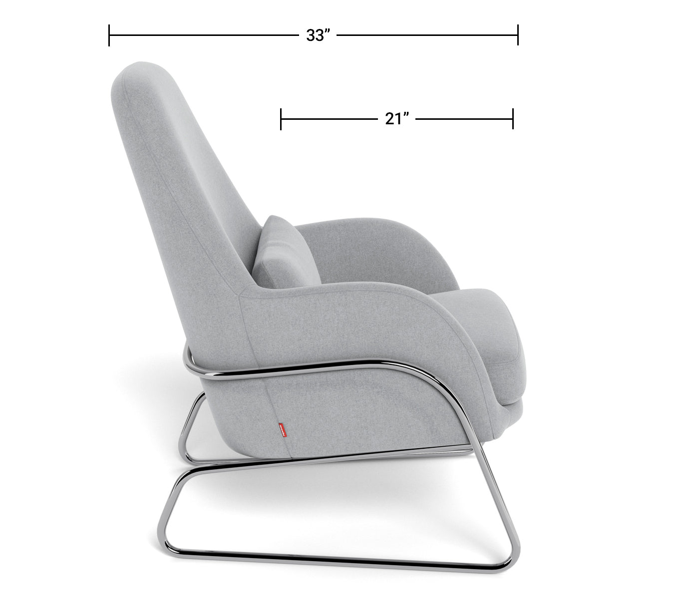 Modern Lounge Chair - Jackson Lounge Dimensions Side View