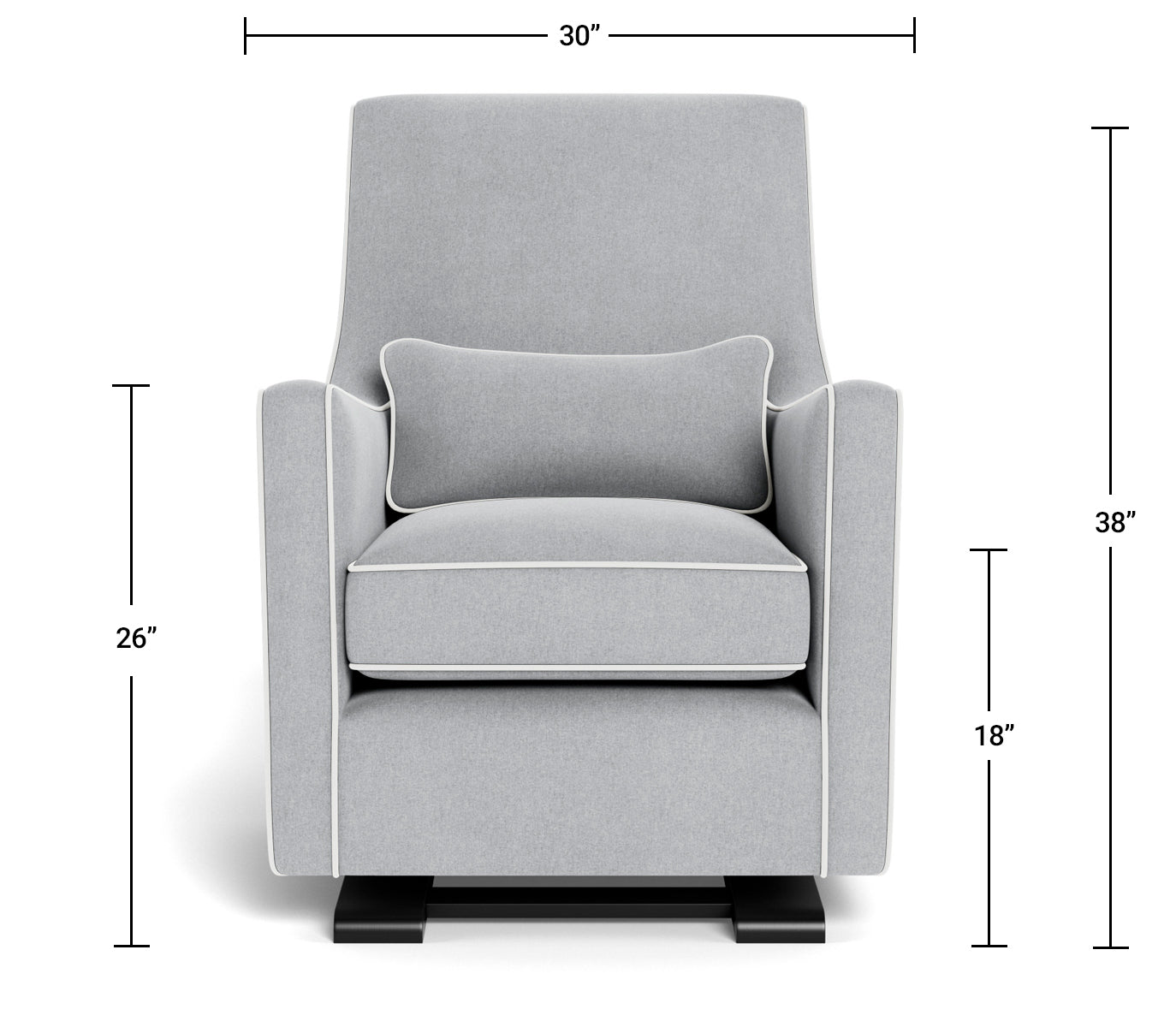 Modern Nursery Glider Chair - Luca Glider Chair Dimensions Front View