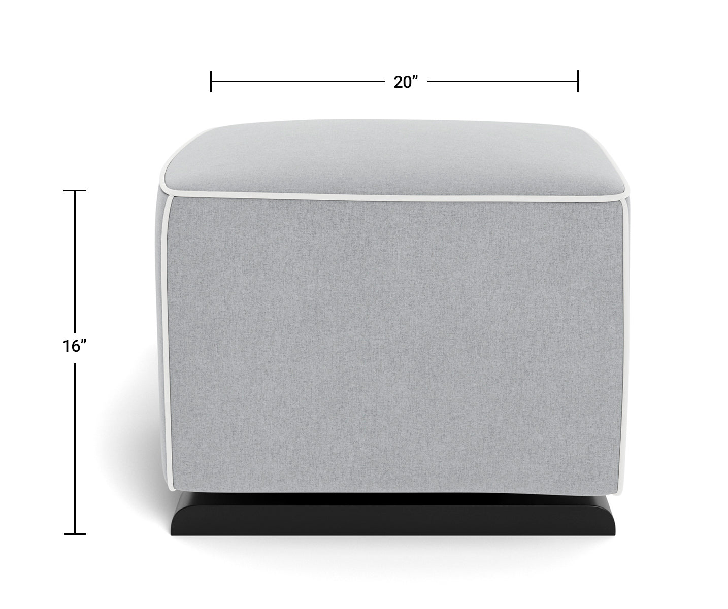 Modern Nursery Ottoman - Luca Ottoman Dimensions Front View