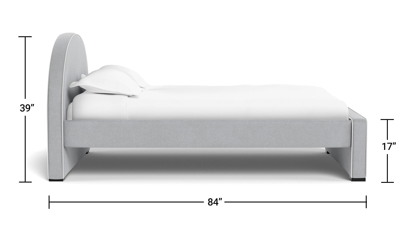 Modern Luna Bed Full Dimensions Side View