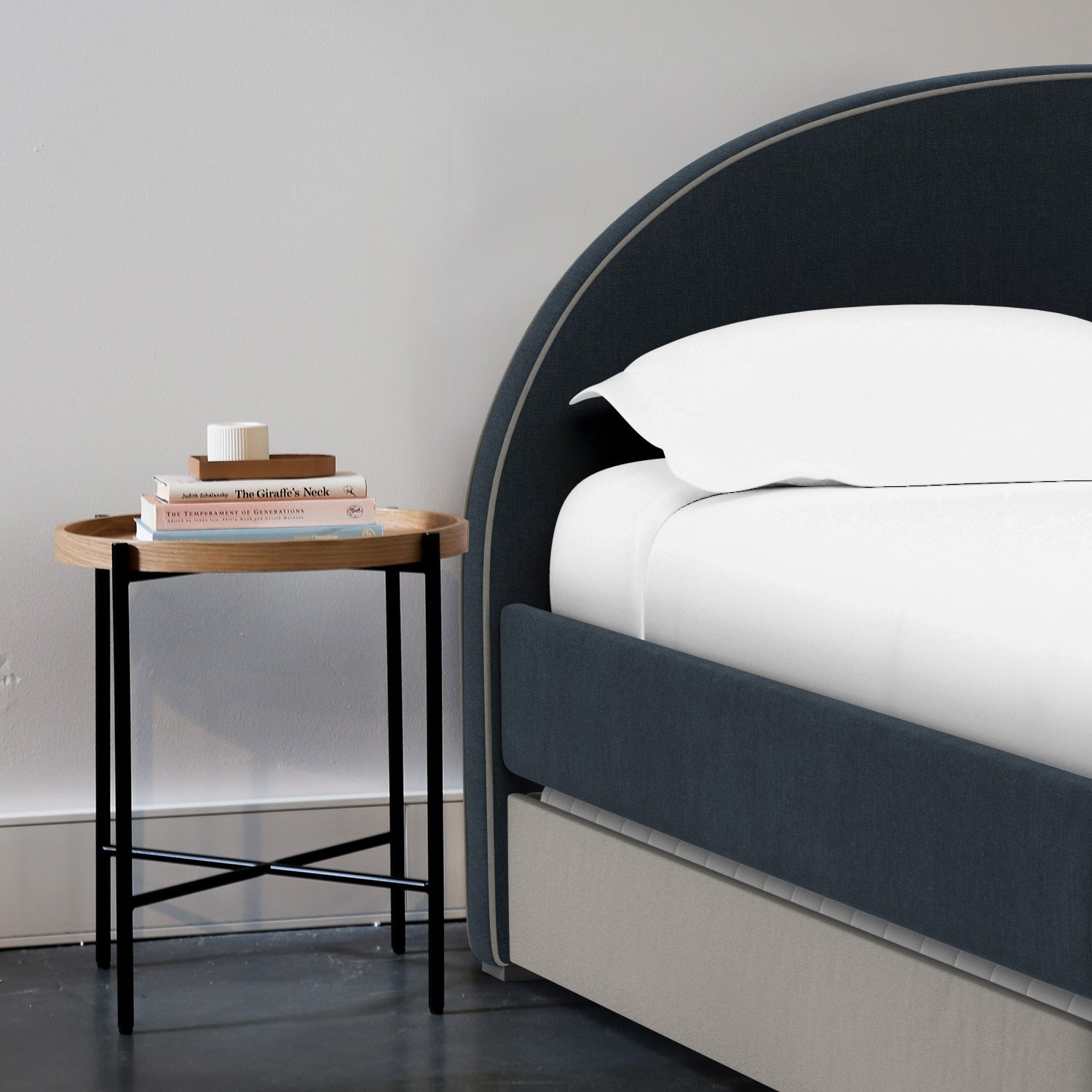 Modern Luna Twin bed with Trundle and arched headboard for your kid's room