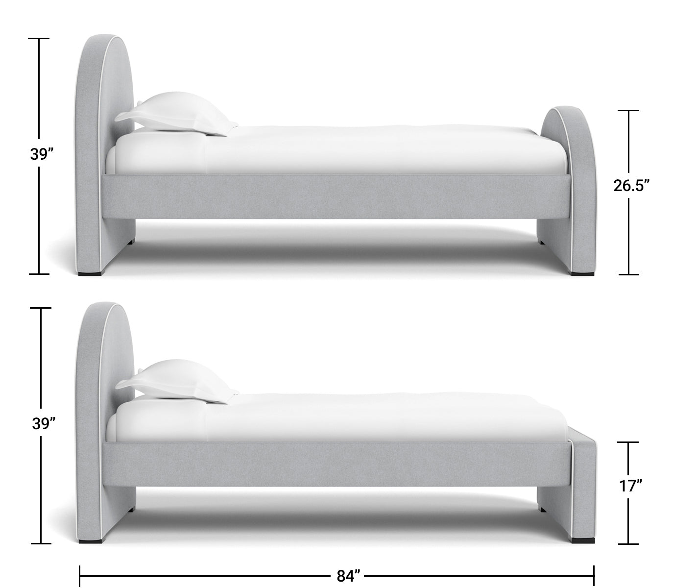 Luna Twin Bed Dimensions side view
