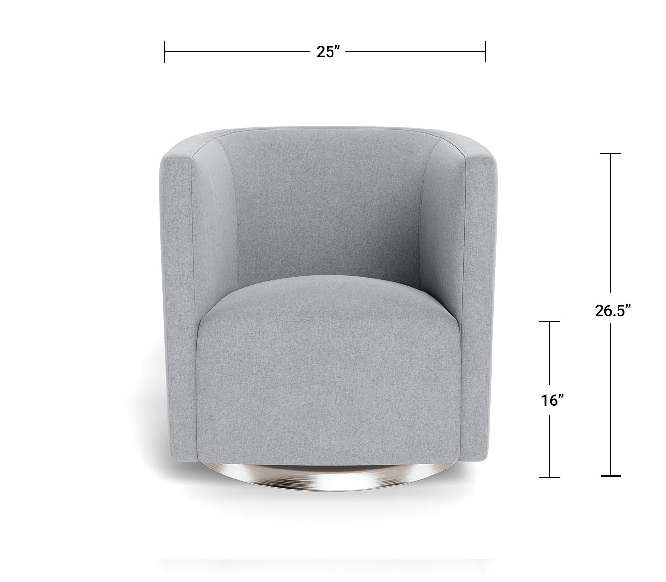 Modern Mitchell Swivel Chair Dimensions Front View