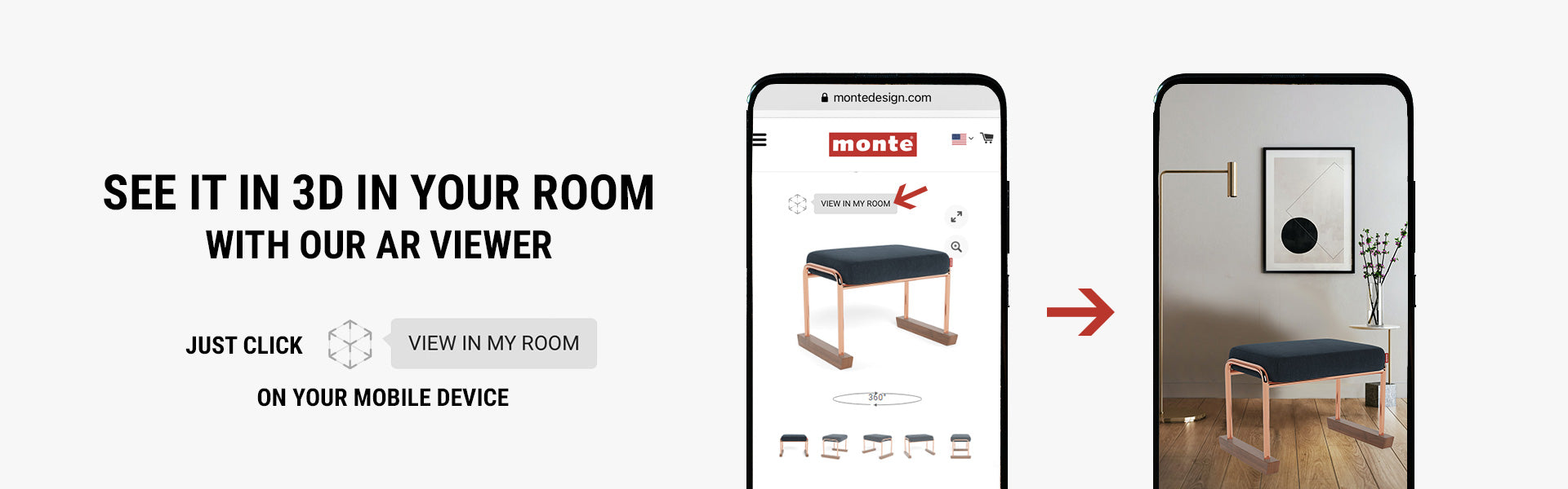 Monte AR - Experience Monte Jackson Ottoman in your space with to-scale renders.