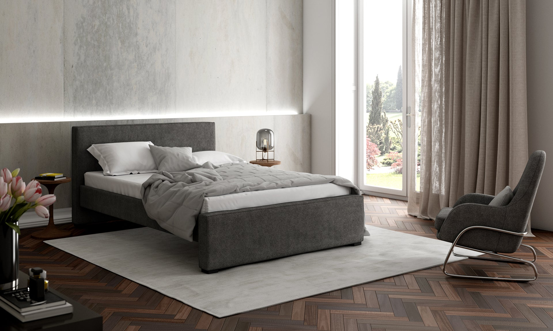 Picture of: Modern Dorma Queen King Bed With Pull Out Trundle By Monte Design