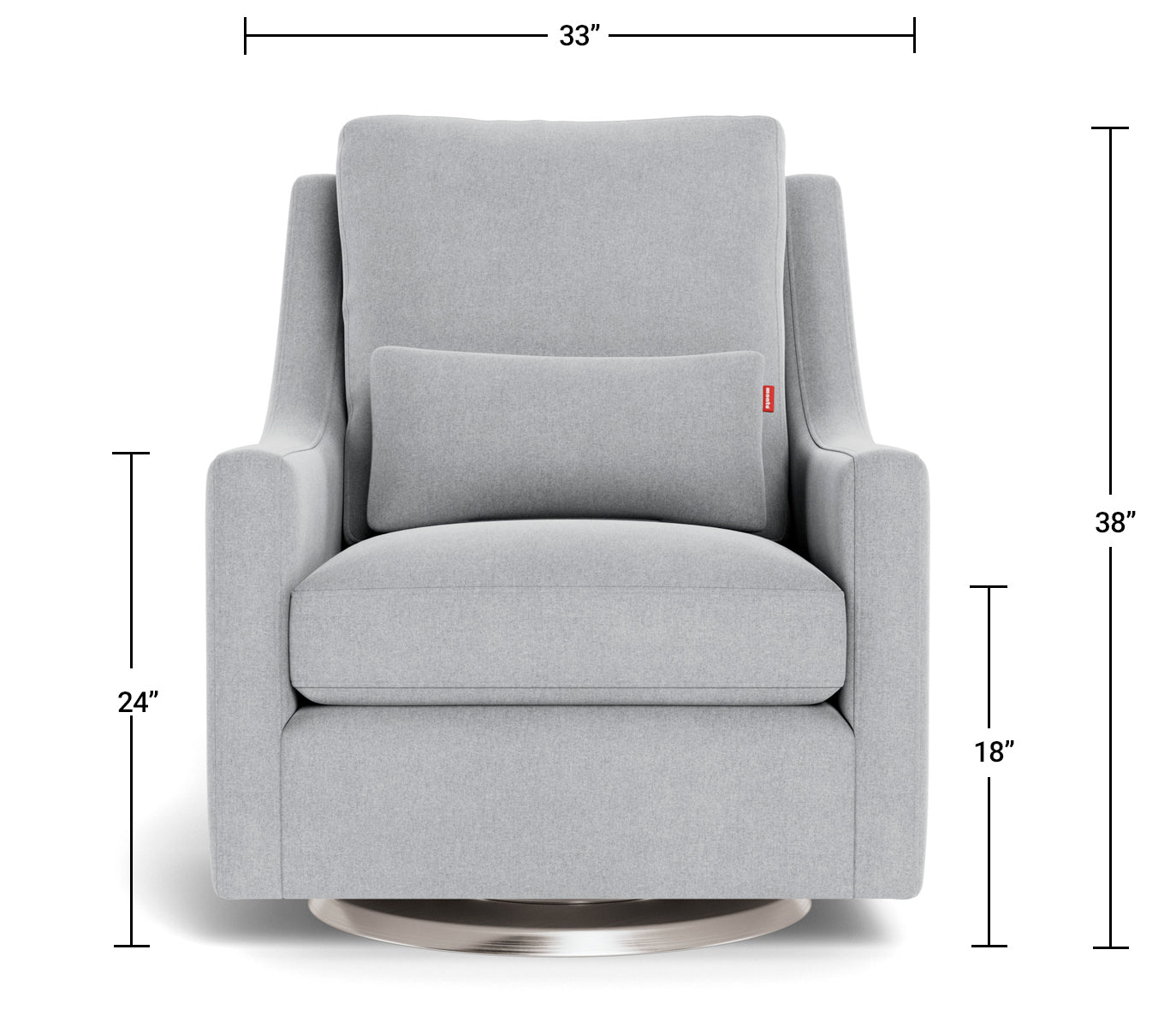 Modern Nursery Glider Chair - Vera Glider Chair Dimensions Front View