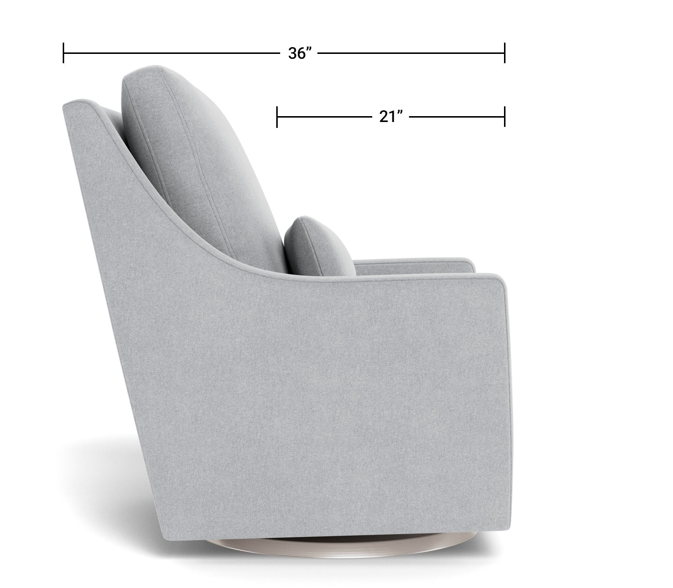 Modern Nursery Glider Chair - Vera Glider Chair Dimensions Side View