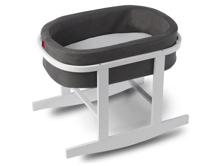 Modern Upholstered Ninna Nanna Bassinet - charcoal basket and white base shown.