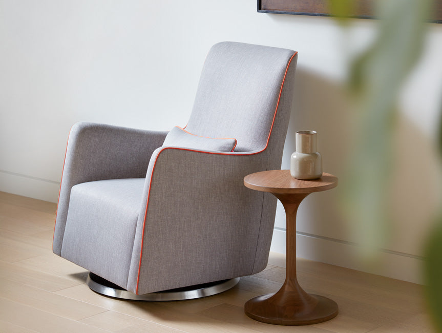 Modern Grazia Glider with Duo Side Table - pebble grey body with orange piping shown.