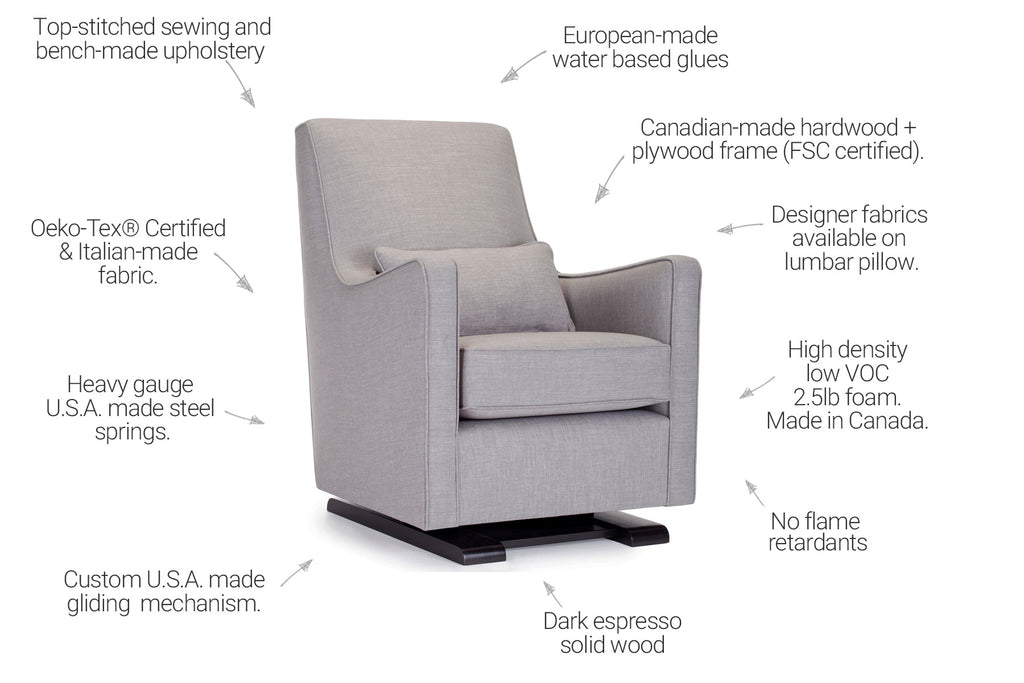 Modern Upholstered Luca Glider Highlights