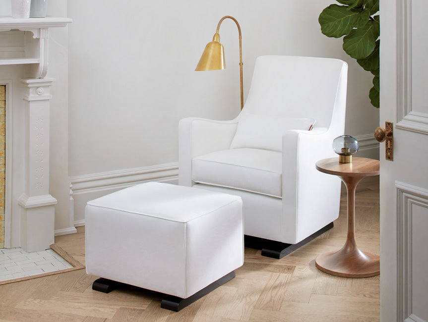 Modern Upholstered Luca Glider and Ottoman with Duo Side Table - white with white piping shown.