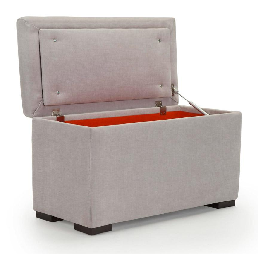 Modern Upholstered Storage Bench   Smoke Body Shown.