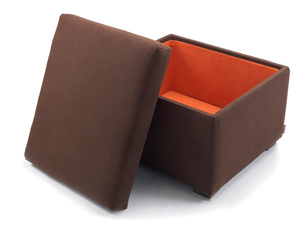 Modern Upholstered Storage Ottoman   Brown Body Shown.