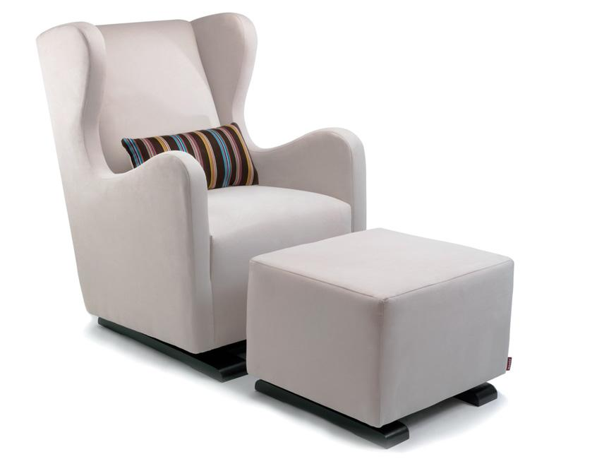 Modern Vola Glider and Ottoman - stone with Paul Smith pillow fabric shown.