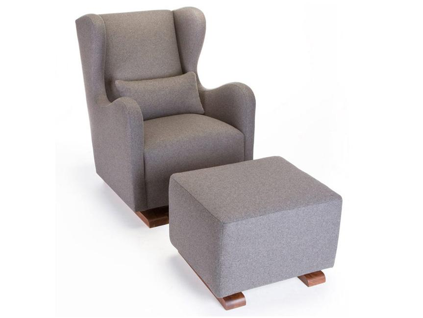 Modern Vola Glider and Ottoman - dark grey italian wool shown shown.