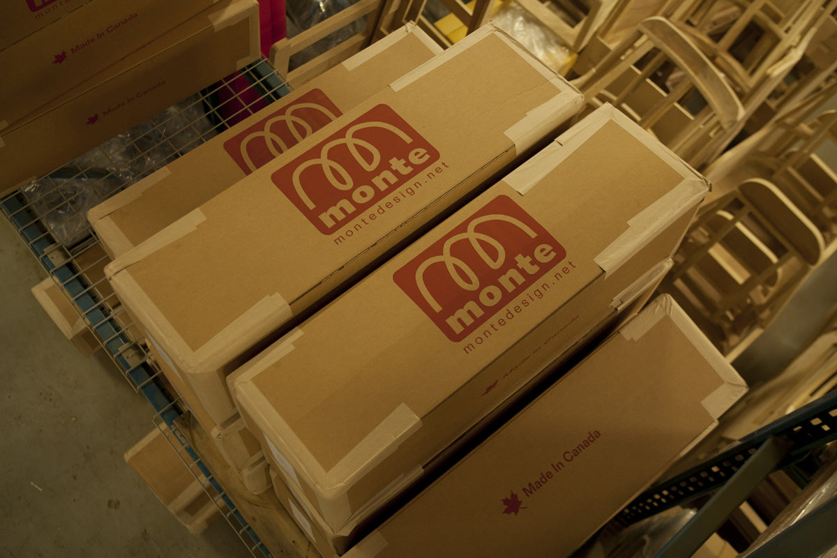 Shipping boxes are made in Canada from over 95% recycled materials
