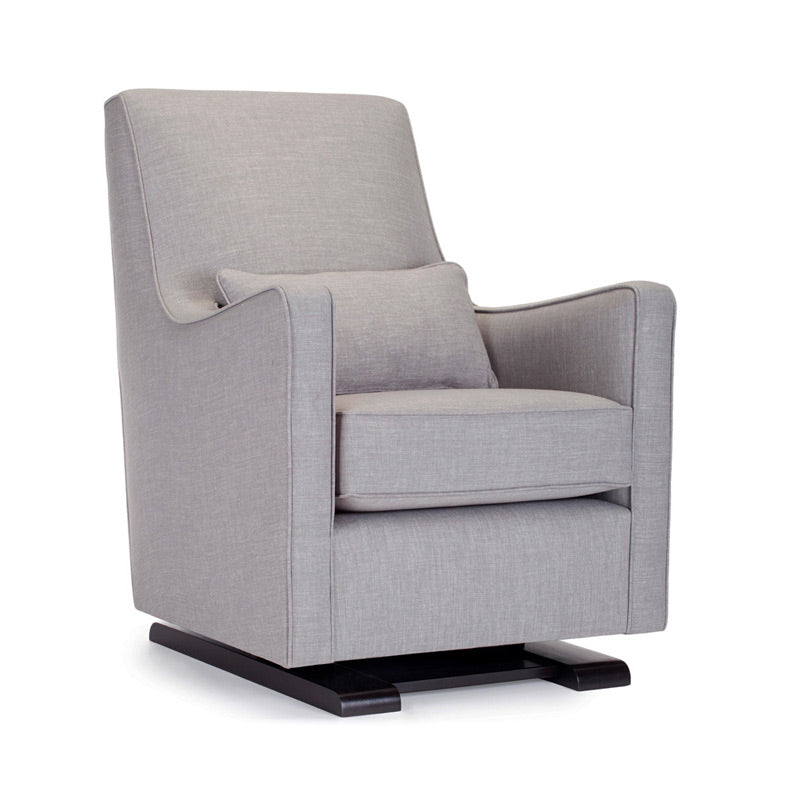 Monte Design Upholstered Modern Nursery Luca Glider Chair and Ottoman Pebble Grey