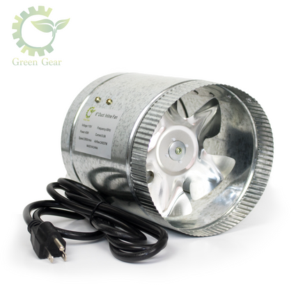 Duct Fan - durable and effective - designed for complete hydroponic systems - green gear
