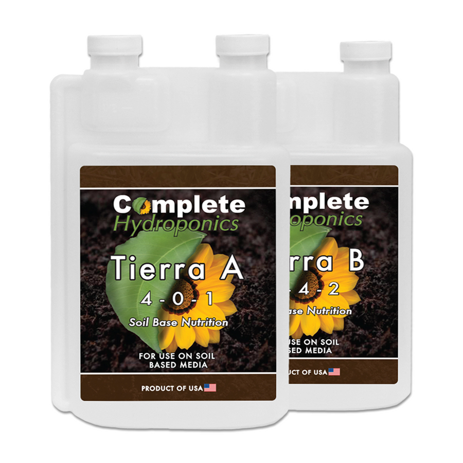 Tierra A&B - Hydroponic Nutrient Solutions - Formulated for organic soil (Enhanced with Cal-Mag) - Complete Hydroponics