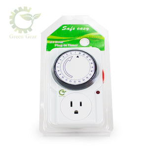 Green Gear 24 Hrs Mechanical Timer - Hydroponic Equipment - 15 Amps maximum/125 Volts/60 Hz. - Complete Hydroponics