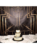 Gatsby Art Deco Black and Gold Printed Backdrop - C0134