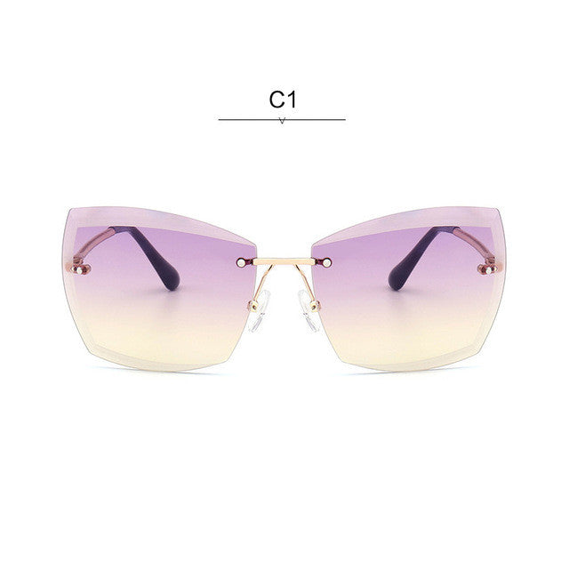 2377c0c543a ROYAL GIRL Rimless Women Sunglasses Square Vintage Ombre 2017 Summer Glasses  ss187