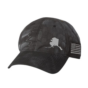 Alaska State Outline US Flag Hat - Kryptek Camo