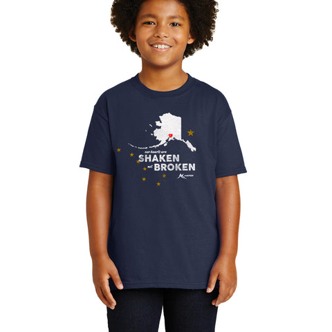 Shaken Not Broken Youth Shirt - Navy