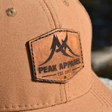 Peak Apparel Logo Leather Patch Hat - DUK Brown