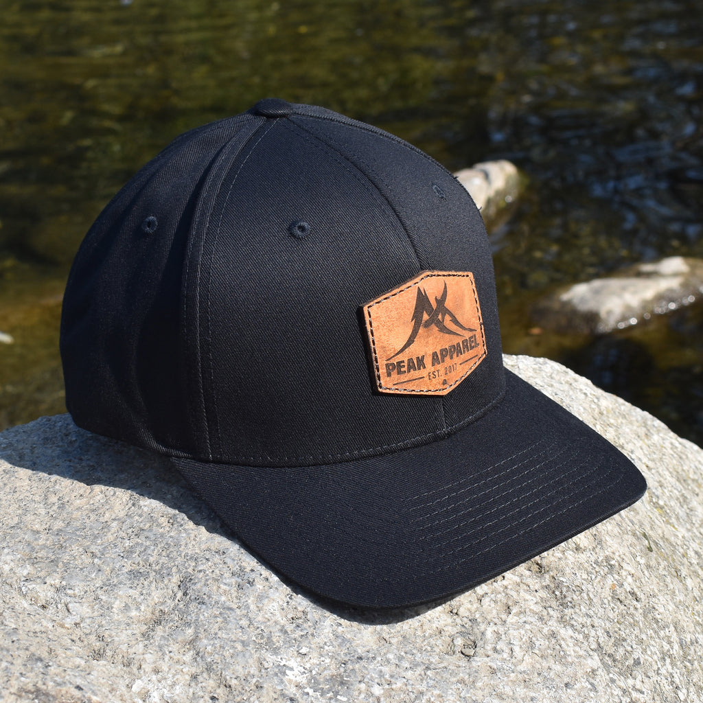 Peak Apparel Logo Leather Patch Hat - Black Flexfit