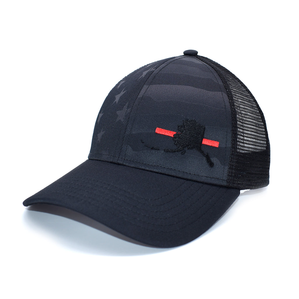 Alaska State Outline Red Line Firefighter Support Hat