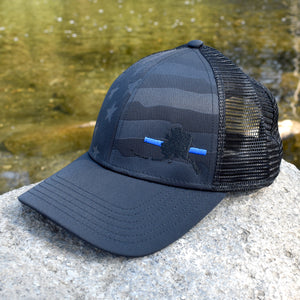 Alaska State Outline Blue Line Police Support Hat