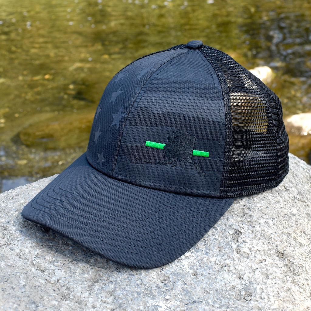 Alaska State Outline Green Line Military Support Hat