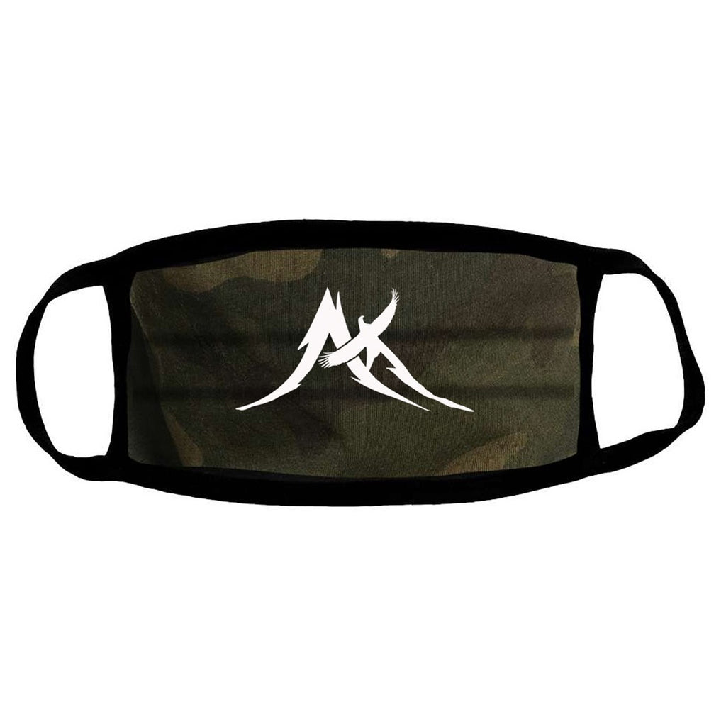 Peak Logo Large White on Camo - Cloth Face Mask