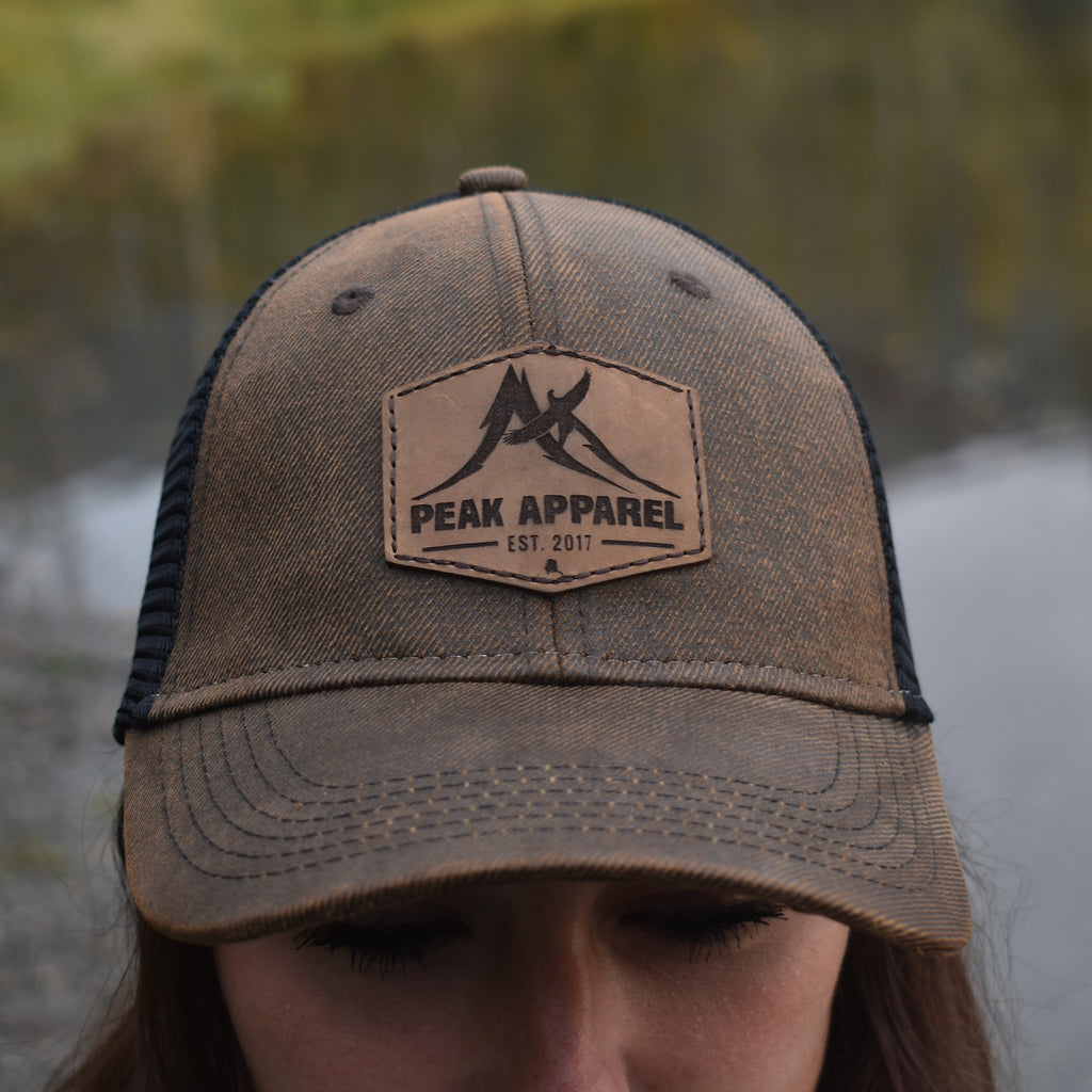 Peak Apparel Logo Leather Patch Hat - Brown/Black