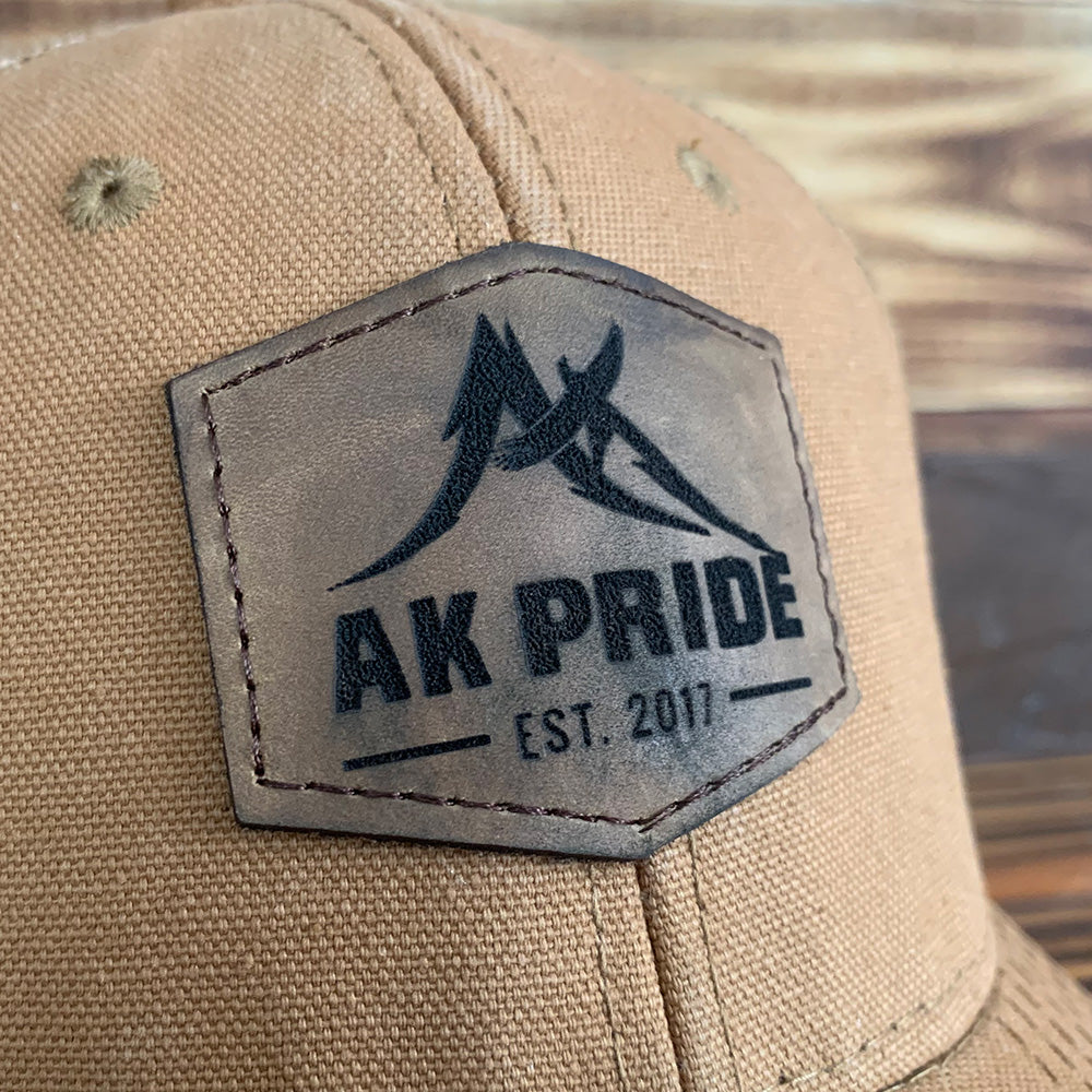 AK Pride Logo Leather Patch Hat - DUK Brown