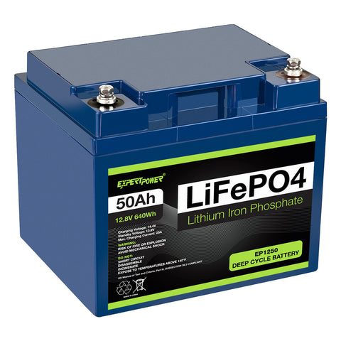 12V 50Ah LiFePO4 - EP1250 - ExpertPower Direct
