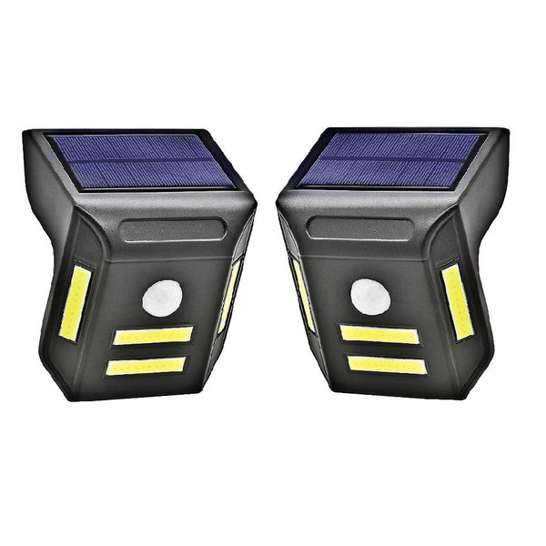 Solar Powered Outdoor Lights, Wireless 4 COB LED Waterproof Motion Sensor Solar Lights for Front Door, Back Yard, Driveway, Garage and More [2 Pack]