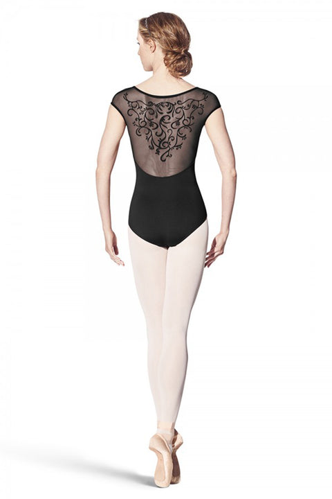 BLOCH L8962 WOMEN VINE FLOCK CAP SLEEVE LEOTARD