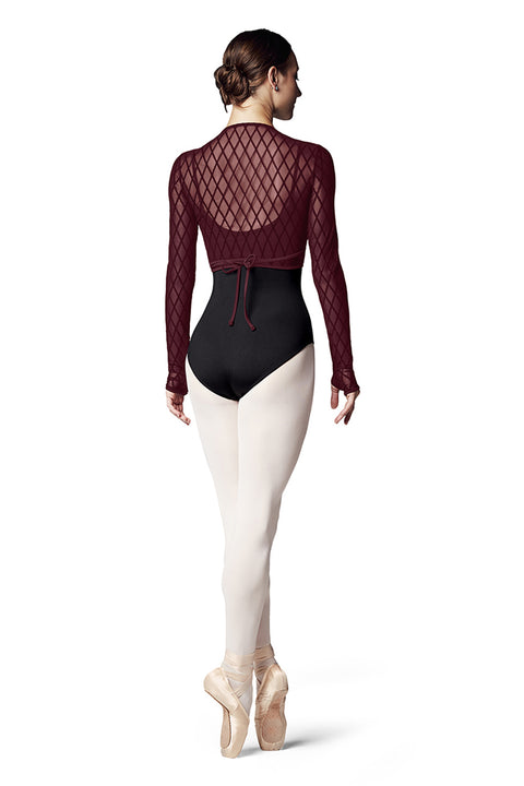 BLOCH Z7919 ZALIKA LADIES MESH LONG SLEEVE WRAP TOP