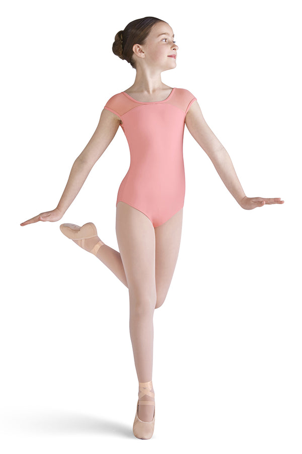 MIRELLA M1506C GIRLS MESH BACK CAP SLEEVE LEOTARD