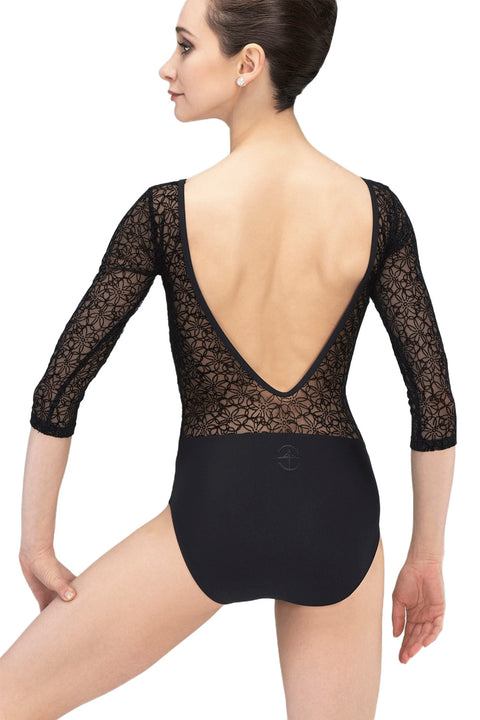 WEAR MOI ROSALIE WOMENS MICROFIBER VELOUR FLOCKED HALF SLEEVE LEOTARD