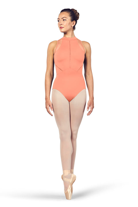 BLOCH LADIES LOANNE HIGH NECKLINE ZIP OPEN BACK HALTER TANK LEOTARD