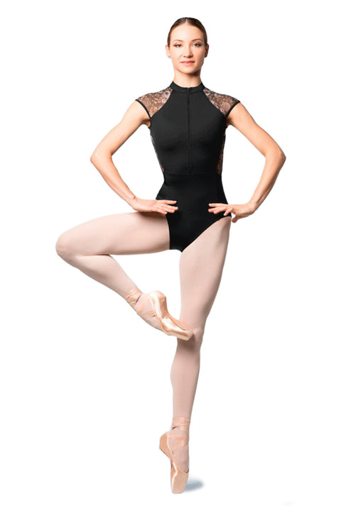BLOCH L9982 LASHAY WOMENS ZIP-FRONT CAP-SLEEVE LEOTARD