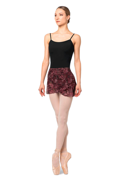 BLOCH R9911 MIRINDA WOMENS FLORAL PRINTED MESH WRAP SKIRT